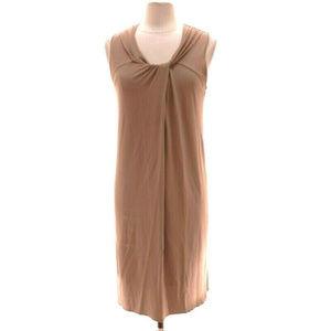 VINCE Dark Beige Sleeveless Stretchy Shift Dress